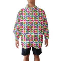 Modernist Floral Tiles Wind Breaker (kids) by DanaeStudio