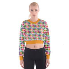Modernist Floral Tiles Women s Cropped Sweatshirt by DanaeStudio
