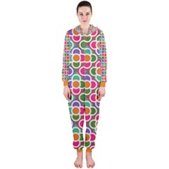 Modernist Floral Tiles Hooded Jumpsuit (ladies) by DanaeStudio