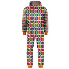 Modernist Floral Tiles Hooded Jumpsuit (men) by DanaeStudio