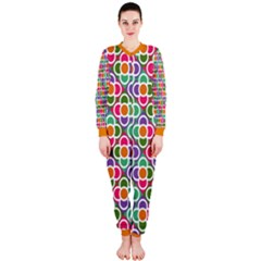 Modernist Floral Tiles Onepiece Jumpsuit (ladies) by DanaeStudio