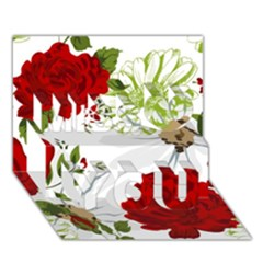 Red Roses Miss You 3d Greeting Card (7x5)