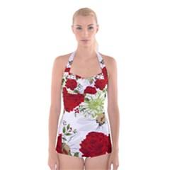 Red Roses Boyleg Halter Swimsuit  by fleurs