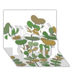Green Decorative Plant Miss You 3d Greeting Card (7x5)