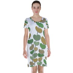 Green Decorative Plant Short Sleeve Nightdress by Valentinaart