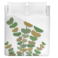 Green Decorative Plant Duvet Cover Single Side (queen Size) by Valentinaart