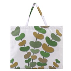 Green Decorative Plant Zipper Large Tote Bag by Valentinaart