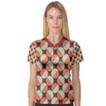 Modernist Geometric Tiles Women s V-Neck Sport Mesh Tee