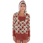 Modernist Geometric Tiles Women s Long Sleeve Hooded T-shirt