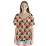 Modernist Geometric Tiles V-Neck Flutter Sleeve Top