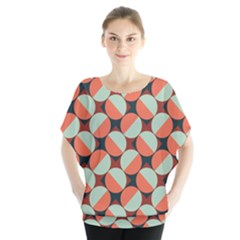 Modernist Geometric Tiles Batwing Chiffon Blouse by DanaeStudio