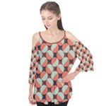 Modernist Geometric Tiles Flutter Sleeve Tee