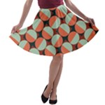 Modernist Geometric Tiles A-line Skater Skirt