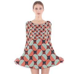 Modernist Geometric Tiles Long Sleeve Velvet Skater Dress by DanaeStudio
