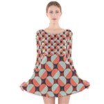Modernist Geometric Tiles Long Sleeve Velvet Skater Dress
