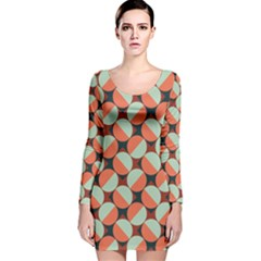 Modernist Geometric Tiles Long Sleeve Velvet Bodycon Dress by DanaeStudio