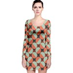 Modernist Geometric Tiles Long Sleeve Velvet Bodycon Dress