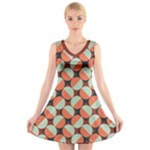 Modernist Geometric Tiles V-Neck Sleeveless Dress