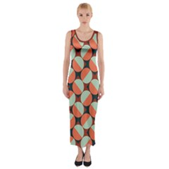 Modernist Geometric Tiles Fitted Maxi Dress by DanaeStudio