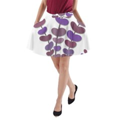 Purple Decorative Plant A Line Pocket Skirt by Valentinaart