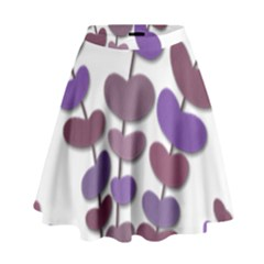 Purple Decorative Plant High Waist Skirt by Valentinaart