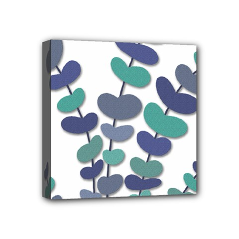 Blue Decorative Plant Mini Canvas 4  X 4  by Valentinaart