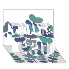 Blue Decorative Plant Thank You 3d Greeting Card (7x5)