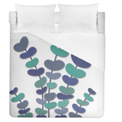 Blue Decorative Plant Duvet Cover Single Side (queen Size) by Valentinaart