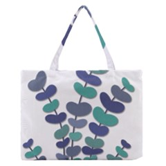 Blue Decorative Plant Medium Zipper Tote Bag
