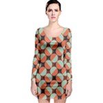 Modernist Geometric Tiles Long Sleeve Bodycon Dress