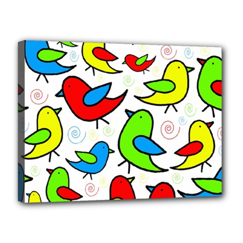 Colorful Cute Birds Pattern Canvas 16  X 12  by Valentinaart