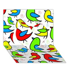 Colorful Cute Birds Pattern Heart 3d Greeting Card (7x5) by Valentinaart