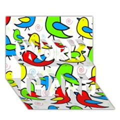 Colorful Cute Birds Pattern Work Hard 3d Greeting Card (7x5) by Valentinaart