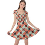 Modernist Geometric Tiles Cap Sleeve Dress