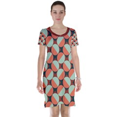 Modernist Geometric Tiles Short Sleeve Nightdress by DanaeStudio