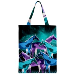 Horses Under A Galaxy Zipper Classic Tote Bag by DanaeStudio