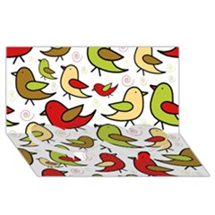 Decorative Birds Pattern Twin Heart Bottom 3d Greeting Card (8x4) by Valentinaart