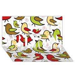 Decorative Birds Pattern #1 Mom 3d Greeting Cards (8x4)