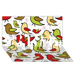 Decorative Birds Pattern #1 Dad 3d Greeting Card (8x4) by Valentinaart