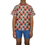 Modernist Geometric Tiles Kid s Short Sleeve Swimwear