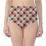 Modernist Geometric Tiles High-Waist Bikini Bottoms