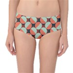 Modernist Geometric Tiles Mid-Waist Bikini Bottoms