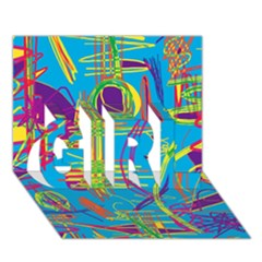 Colorful Abstract Pattern Girl 3d Greeting Card (7x5)