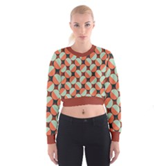 Modernist Geometric Tiles Women s Cropped Sweatshirt by DanaeStudio