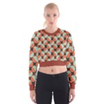 Modernist Geometric Tiles Women s Cropped Sweatshirt