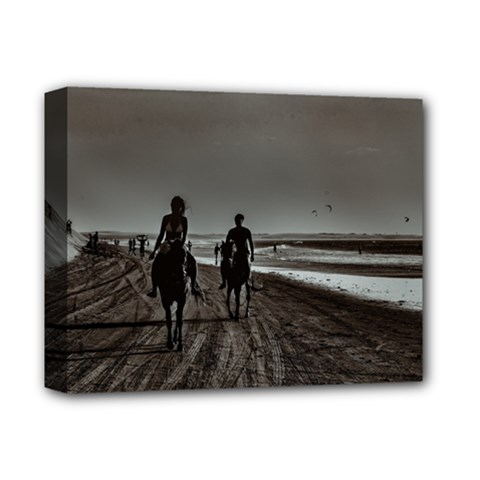 Young Couple Riding Horses At The Beach Deluxe Canvas 14  X 11  by dflcprints