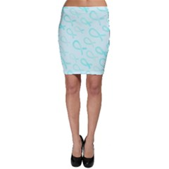 Turquoise Watercolor Awareness Ribbons Bodycon Skirt by AwareWithFlair