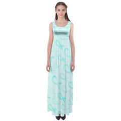 Turquoise Watercolor Awareness Ribbons Empire Waist Maxi Dress by AwareWithFlair