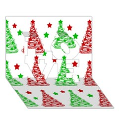 Decorative Christmas Trees Pattern   White Love 3d Greeting Card (7x5) by Valentinaart