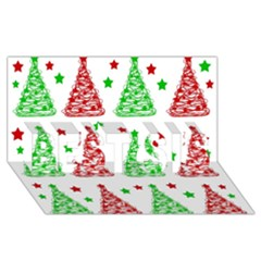 Decorative Christmas Trees Pattern   White Best Sis 3d Greeting Card (8x4) by Valentinaart